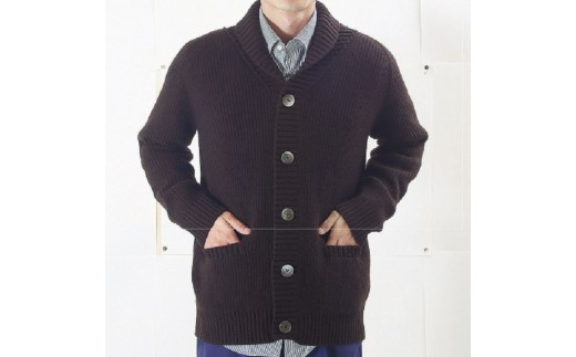 [№5823-0369]大江の職人の手動編み オーダーメイドカシミア100% ニット紳士両あぜジャケット