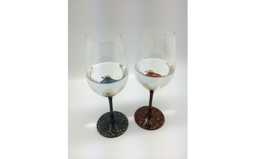 漆絵ワイングラス 富士・赤富士