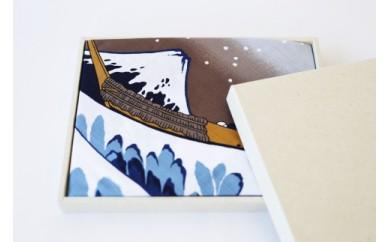 職人が手捺染で染め上げた大風呂敷 「北斎・波」