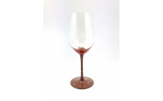 漆絵ワイングラス 赤富士