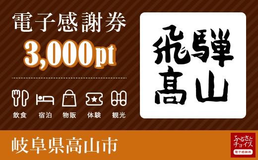 旅行・食事・観光・遊びに使える!高山市 電子感謝券 3,000ポイント