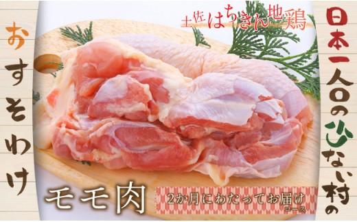 大川村土佐はちきん地鶏モモ肉1kg(500g×2)×2ヶ月【日本一人口の少ない村】