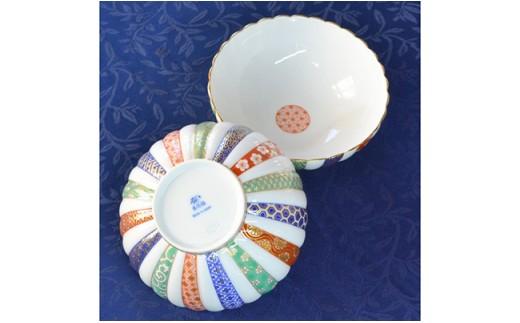 A30-68 香蘭社 三色地紋・組中鉢