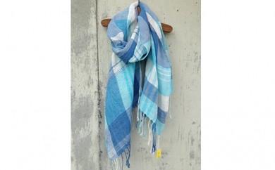 [№5656-0667]ito to iro 手染め・手織り仕上げ 「ストール」ブルー×ホワイトベース・チェック