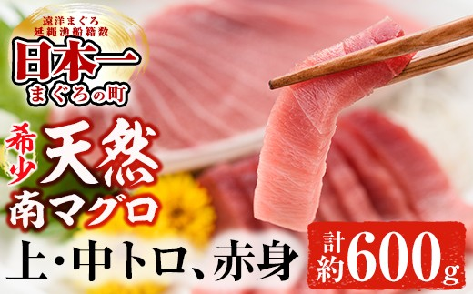 B‐009 天然南マグロ堪能セット 上トロ、中トロ、赤身 計約600g