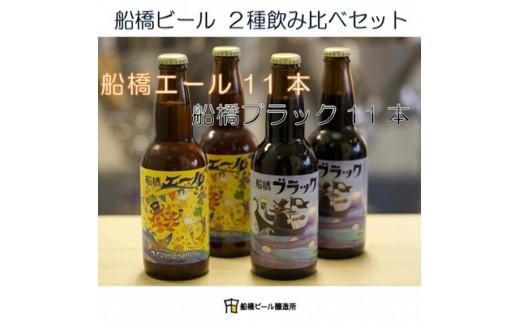 B15:【船橋発のクラフトビール】船橋ビール2種飲み比べセット(瓶)・330ml×計22本
