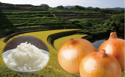 【新たまねぎ】棚田のおいしいお米5kgと淡路玉葱2kg