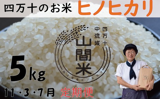 19-507C.9月限定【先行受付】【新米】【定期便】山間米(ヒノヒカリ)5kg×3回お届け