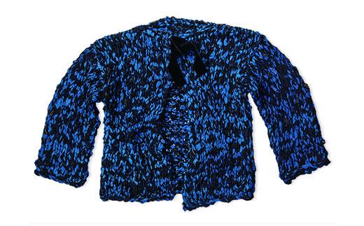 CE-1901-01 手染め裂編カーディガン(INDIGO×BLACK(藍染×泥藍染))