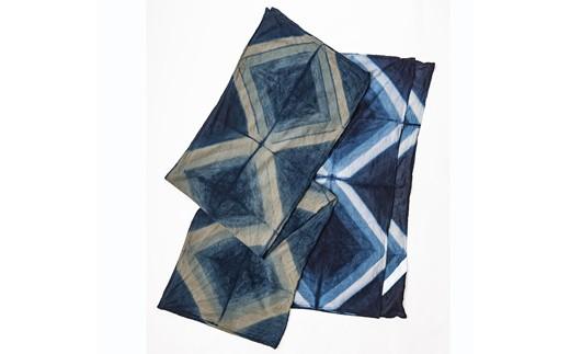 AE-1903-01 【限定】手染めガーゼショール ハーフサイズ ダイヤ(INDIGO×WHITE(藍染))