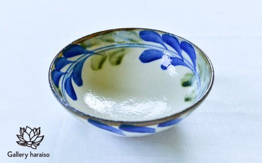 【沖縄のやちむん】でいご・6寸鉢【ネイビー×オリーブ】