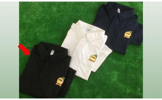 C0047.つげさんボタンダウン半袖ポロシャツ(ポケット付)ブラック