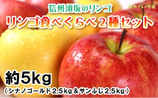 [№5657-2341]【信州須坂のりんご】食べくらべ二種セット 約5kg