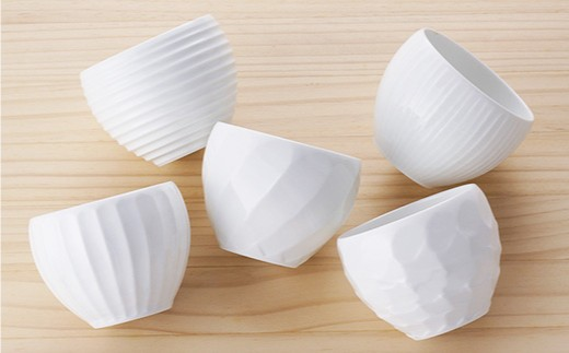 BB32 【波佐見焼】白磁手彫 丸カップ5点セット【一真陶器】-3