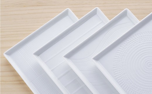 BB31 【波佐見焼】白磁手彫 13.5スクエア皿4点セット【一真陶苑】-3
