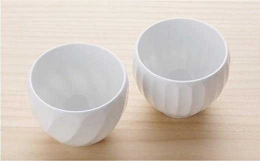 BB32 【波佐見焼】白磁手彫 丸カップ5点セット【一真陶器】-4