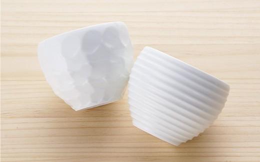 BB32 【波佐見焼】白磁手彫 丸カップ5点セット【一真陶器】-5