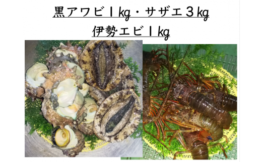 15-2 黒アワビ1kg・伊勢エビ1kg・サザエ3kg