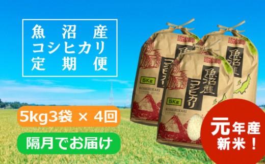 【新米予約】魚沼産コシヒカリ定期便 5kg3袋×4回/隔月でお届け