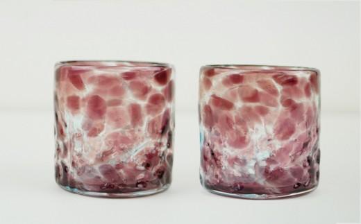 【琉球ガラス匠工房】波の花ロックグラス【紫】2個セット