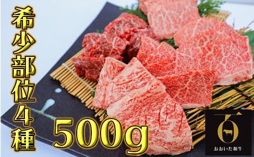 A9004 希少部位4種焼き肉セット500g【匠牧場】おおいた和牛(特製タレ付)