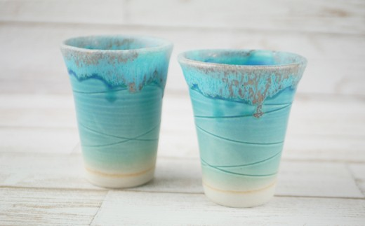 【うるま陶器】琉球焼 青の器 フリーカップ(ペア)