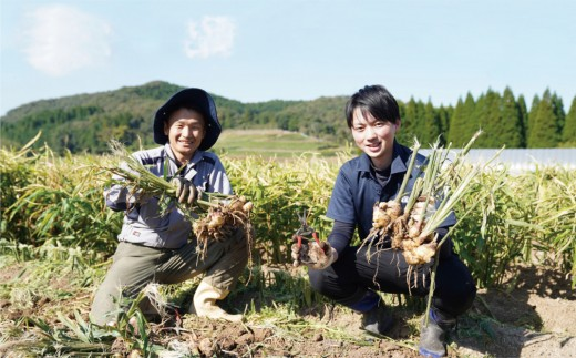 臼杵の有機生姜生産者と後藤製菓専務の後藤亮馬氏
