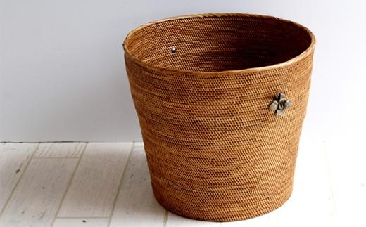◇アタ製品 お花真鍮取っ手バケツ型バスケット(39cm)
