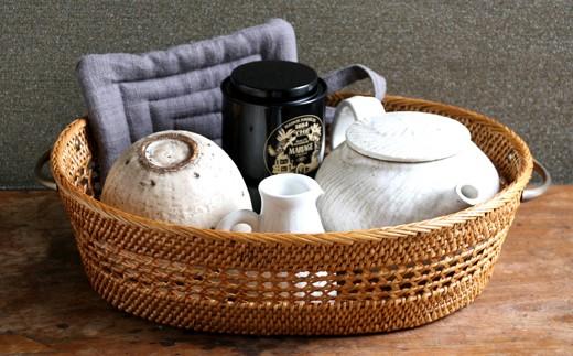◇アタ製品 真鍮取っ手透かし編みお茶碗かご(30cm)