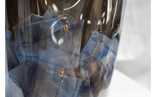 播州織を切って入れると「遊び」感が出て楽しいファッションに♪様々なアレンジを楽しんでみてください★
