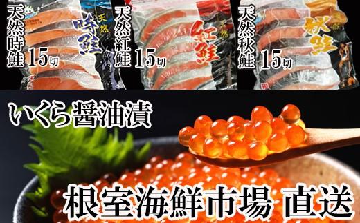 CB-28007 根室海鮮市場<直送>いくら醤油漬80g×2P、秋鮭・紅鮭・時鮭各5切×3P