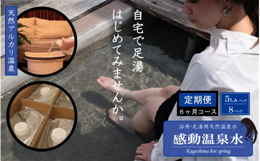J-022 【定期便6ヶ月】感動温泉水5L×8本×6ヶ月定期便 自宅で簡単足湯