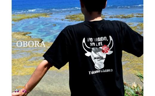 666TOKUNOSHIMA発ブランド OBORA Tシャツ 【No Waido No Life(闘牛):BLACK】