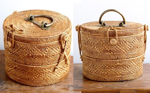 ◇アタ製品 真鍮取っ手2段重バスケット(20×16cm)