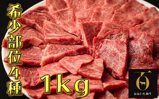 C6004 希少部位4種焼き肉セット1kg【匠牧場】おおいた和牛(特製タレ付)