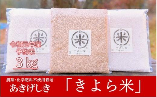 【予約受付 令和元年産・新米】美味しさそのまま真空でお届け! きよら米 3kg