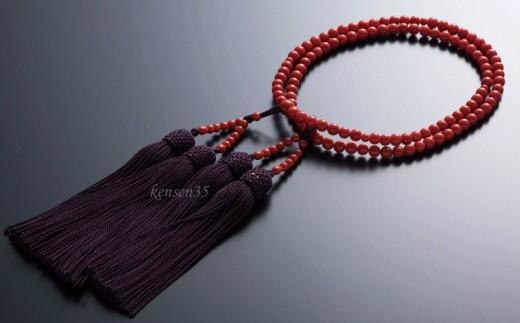 KN014赤サンゴ本連数珠(赤サンゴ5mm玉使用)