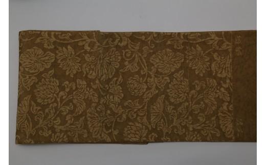 【西陣活性化を応援!】西陣織袋帯(纐纈・黄土色)