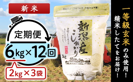 【12ヶ月連続お届け】新潟県産コシヒカリ6kg(2kg×3袋)