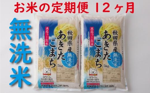 新米予約【定期便12ヶ月】720P9201 秋田県産あきたこまち(無洗米)10kg
