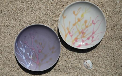 沖縄の海を『ぎゅっ』と閉じ込めた珊瑚プレート 取り皿 2枚 白色×薄紫色