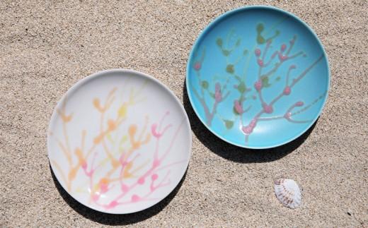 沖縄の海を『ぎゅっ』と閉じ込めた珊瑚プレート 取り皿 2枚  白色×ターコイズ色