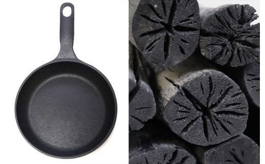 北上の職人技コラボ!炭焼き職人の白炭と岩鉄スキレット 備長炭と鉄器セット