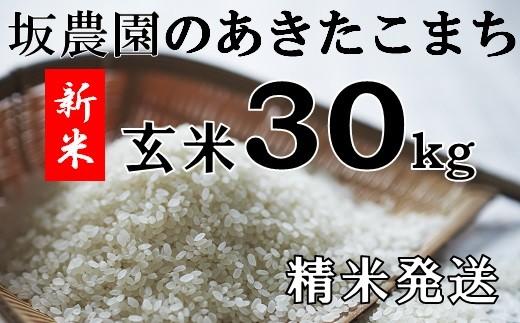 坂農園の厳選米!あきたこまち玄米30kg(精米発送)