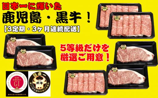 日本一の鹿児島黒牛が【3ヶ月連続】で届く、贅沢で美味しいセットです!