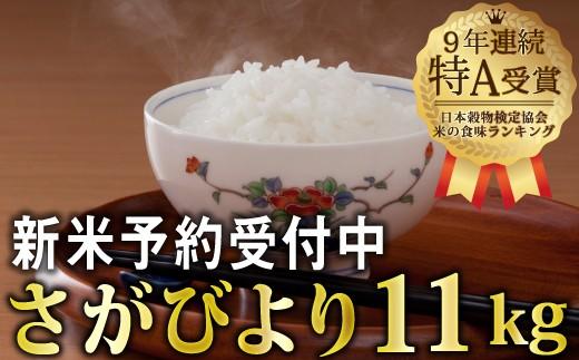 令和元年産 新米さがびより(5.5㎏x2袋)【先行予約】 B-446