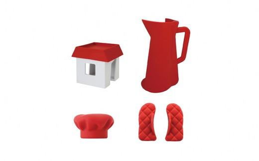 右上:キッチンペーパーホルダー 左上:マルチスタンド 左下:キッチンシェフハット 右下:キッチンミトン