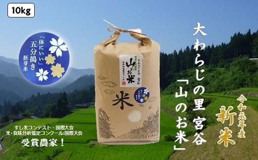 R-18 「令和元年度産」5分つき胚芽米大わらじの里宮谷山のお米10kg