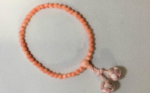 KN019子供用 ピンク珊瑚の片手数珠(女の子用)