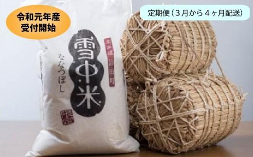 【1060-04】令和元年産 雪中米(ななつぼし)定期便【3月~4ヶ月配送】